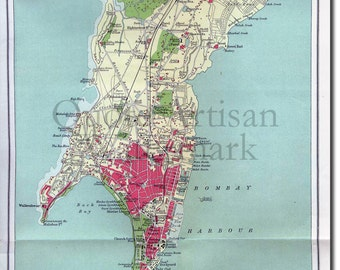 Reproduction of a Vintage Map of Bombay, India from 1909- Fantastic Photo Poster Print - Old Archive Cartography