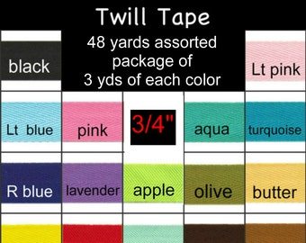 "ASSORTED Pre-Cut Package 48 Total Yards - 3/4"" - Polyester Twill Ribbon Tape - 3 yards of 16 Different Colors"