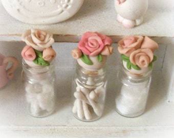 Fancy Pink Rose Mini Filled Glass Bottles for Bath or Nursery Set of 3 Dollhouse 1:12 Scale with Delicate Artisan Sculpted Lids