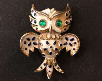 Vintage RARE Trifari Owl Animal Series Brooch