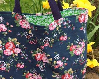 Small floral bag, Small tote bag, reusable small bag, reusable shopper