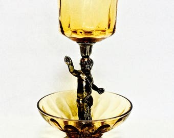 Amber Glass and Cherub Accent Dish, Votive Candle Holder, Renaissance Home Decor, Old World Christmas