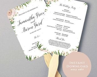 Wedding Fan Program Template, Ceremony Program, Printable Wedding Program, Order Of Ceremony, Editable, DIY Wedding Program, Rustic Wedding