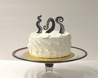MADE In USA, Octopus Wedding Cake Topper Octopus Tentacles Set of 3 At Sea Wedding Cake Topper Nautical Wedding Topper Halloween Cake Topper