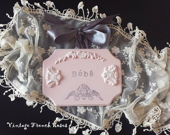 "Pink Angel French Wall Plaque ""Bebe"" Sign French Appliques Cherub Handmade Baby Nursery Girls Room Shabby Chic Beach Cottage Style"