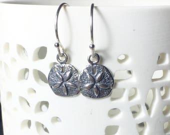 Sand Dollar Charm Earrings, .925 Sterling Silver, Beach Jewelry