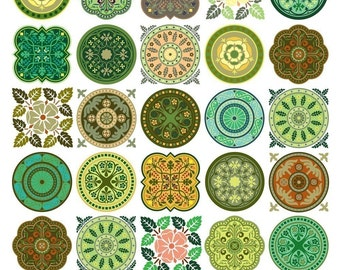Medallions Shades of Green Collage Sheet - Instant Download - 1.5 Inch Circles and Squares - Digital Download - Printable
