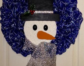 Snowman Head Blue Deco Mesh Wreath