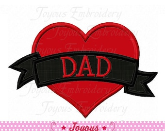 Instant Download Love DAD Heart Applique Embroidery Design NO:2071