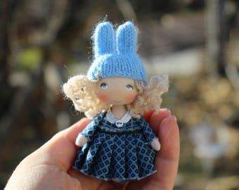 Dollhouse miniature fabric easter bunny rabbit mini doll, tiny cloth art pocket doll rabbit lovers gift, small rag doll