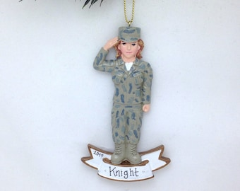 Army White Female Soldier Personalized Christmas Ornament / Army Ornament / Military / Women Armed Forces