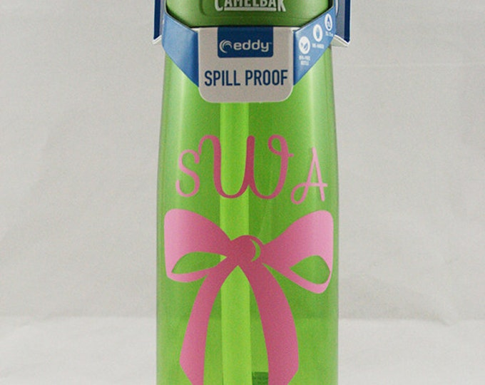 Personalized .75L CamelBak® Eddy Bottle - Big Bow & Monogram - Great For Dance Or Cheer Teams - Water Bottle - Hydrate - Hydrate  Bite Valve