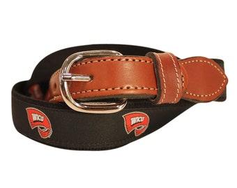 Western Kentucky University WKU  Men's  Web Leather Belt