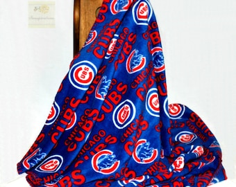 Chicago Cubs Hand Finished Fleece Baby Blanket