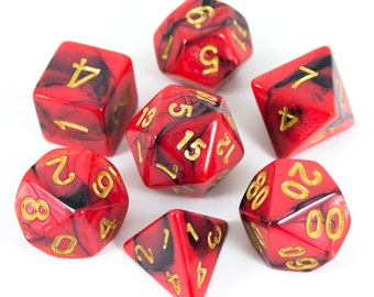 Paladin Roleplaying Red and Black 'Salamander' Polyhedral Dice Set | DnD, Pathfinder etc
