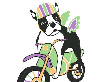 CUSTOM LISTING: Boston Terrier on a Motorcycle / Motor Bike