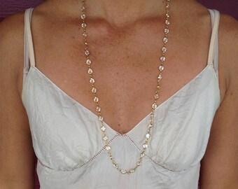 """Swarovski Crystal Long necklace, Bezel Crystal, Faceted Crystal, 32"""" necklace"""