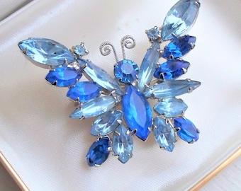 Juliana Blue Glass Butterfly Pin - D&E, Elster, Juliana, Rhinestone, Blue Rhinestone, Butterfly
