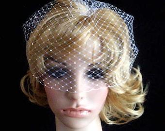 BRIDAL WEDDING White OR Ivory Bridal Weding Rusian Net Birdcage Veil with  Crystal Edge
