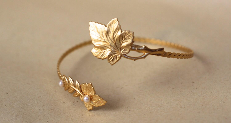 Venus Leaf Arm Band Golden Leaves Arm Cuff Grecina Arm Band