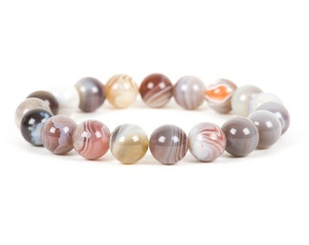 Botswana Agate Bracelet, 10mm Botswana Agate Gemstone Bracelet, Gemstone Bracelet, Handmade Jewelry, Gemstone Jewelry, mothers day