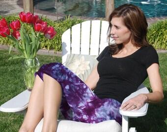 Cosmic Rich Purple Tie Dye Crop Yoga Pants by Splash Dye Activewear (Choose your own length)