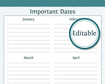 Important Dates Organizer - Fillable -  Printable PDF - Instant Download