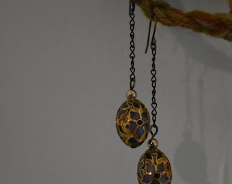Floral egg shaped dangle earrings on chain