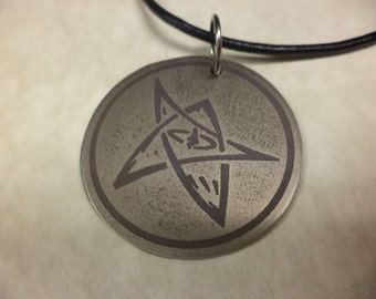 Etched Titanium Elder Sign Pendant