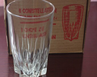 Lot 6 vessels CONSTELLATION DURALEX 70's in its original box. Vintage glasses. New. Soft drink cups. Clear glass vessels.