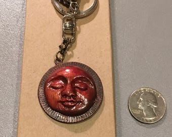 Unique handmade moonface keychain