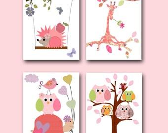 Kids Decor Kids Wall Art Baby Girl Nursery Baby Room Decor Nursery Print Baby Nursery Decor set of 4 Rose Pink Giraffe Turtle Owls Tree