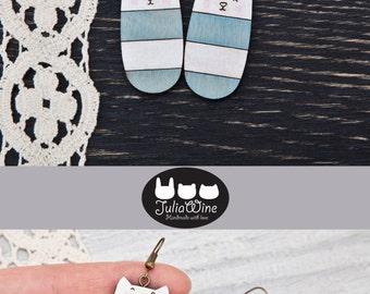 Striped Cat Earrings, Wooden Earrings, Pale Blue Earrings, Many color variations, Long earrings, Dangle Earrings