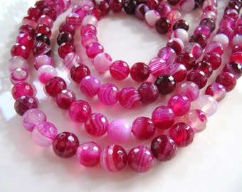 8mm Striped AGATE Beads in Dark Pink, Fuchsia and White Shades, 1 Strand, 47 to 48 Beads, Round, Faceted Gemstones, Dyed