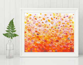 Abstract Art Printable - Digital Download Art - Abstract Art Print - Orange Abstract Painting - Circles Painting Modern Wall Art, 8x10 11x14