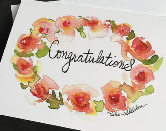 "watercolor roses ""Congratulations"" note card"