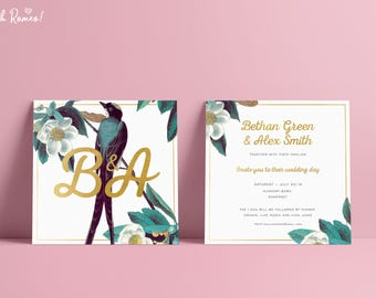 Elegant wedding invitation / invitations with your words. Bird wedding invitation. White, green + floral wedding invitation. Botanical birds