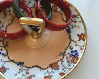 Vintage Noritake Serving Dish - Red and Blue Floral - Display Dish - Porcelain