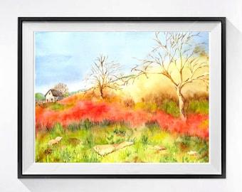 Landscape Art Print, Old Barn art prints, Tree landscape, California, Farm scenery, Farmland, Watercolor painting, farmhouse wall art, Muren