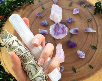 More love less stress meditation  set , crystal set, crystal kit, crystal grid, crystal kit