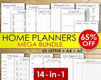 Home Planners Bundle (style A), Weekly menu planner, tv show tracker, password tracker, habit tracker, fitness tracker - INSTANT DOWNLOAD
