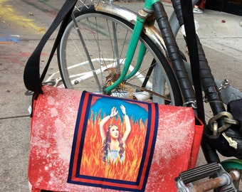Hand Treated Bleach Dyed Red Anima Sola Messenger Bag, Bleach Painted Courier Bag, Crossbody Book Bag
