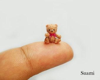 0.4 inch Crochet Micro Bear  - Tiny Amigurumi Miniature Teddy Mohair Bear Pink Bow - Made To Order