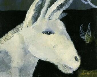 Original Painting: Donkey Under White Moon