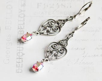 Pink Dangle Earrings, Antiqued Silver Dangle with Crystal Rhinestone Earrings, Leverback, Vintage Style Jewelry