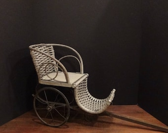 Antique 1800s Wicker and Rattan Doll Pull Carriage with Long Wooden Handle and Rubber over Iron Wheels