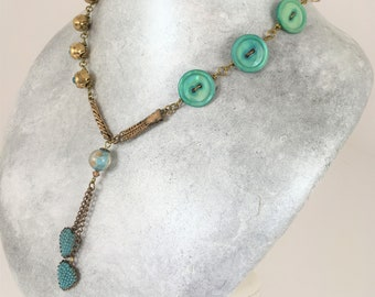 Vintage Assemblage Necklace in Turquoise