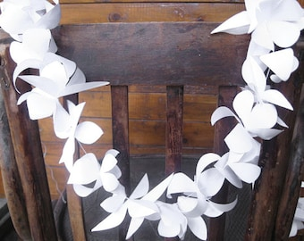 White Paper Garland, Paper Flower Garland, Summer Party Decoration, Wedding Chair Garland, Wedding Chair Decorations, Bride And Groom Chair