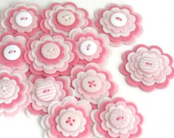 BABY GIRL Handmade Felt Flower Appliques, Felt Flower Embellishments in Pink and White, Layered Felt Blooms, Felt Die Cuts - Set of 3
