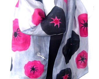 "Hand Painted Silk Scarf, Poppies, Red Black Silver Gray, Floral Silk Scarf Handpainted, 71"" x 18"", Gift For Her"
